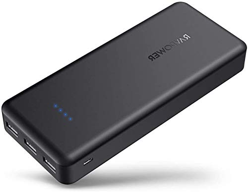 RAVPower Portable Charger 22000mAh External Battery Pack 22000 Power Banks 5.8A Output 3-Port (2.4A Input, iSmart 2.0 USB Ports, Li-polymer Phone Charger) For Smartphone Tablet – Black