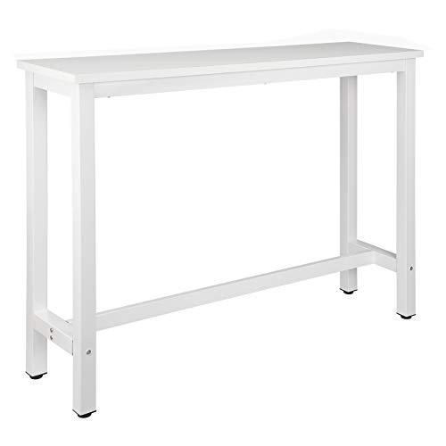 WOLTU BT30ws 1x Bartisch Bistrotisch Stehtisch Esstisch, Metallgestell, Tischplatte aus MDF, Weiß, 140x40x100cm(BxTxH)