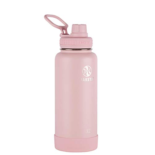 Takeya Actives Insulated Stainless Steel Water Bottle with Spout Lid, 40 oz, Blush