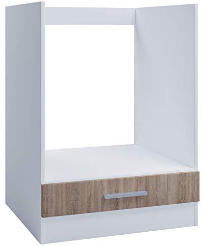 Mobiletto da incasso da 60 cm per forno o piano cottura, con base in legno di rovere Sonoma