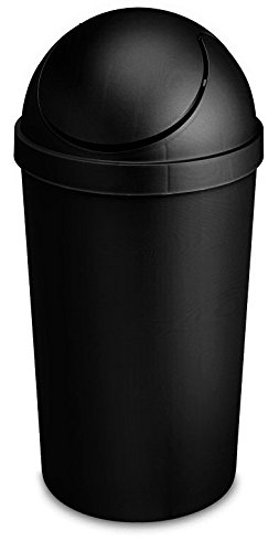 Unique Imports Swing Top Waste Basket Recycling Bin Trash Can Home Powder Room Kitchen Office Garbage Bathroom Garage 3 Gallon Capacity - Black