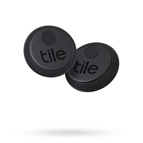 Tile Sticker (2020) buscador de objetos Bluetooth, Pack de 2, negro. Radio búsqueda 45m, batería 3 años, compatible con Alexa, Google Smart Home, iOS, Android. Busca llaves, mandos a distancia y más