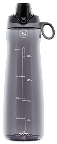 Pogo BPA-Free Plastic Water Bottle with Chug Lid, Grey, 40 oz.