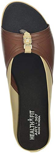 HEALTH FIT Extra Soft Ortho Care Diabetic & Orthopedic Slippers/Doctor Chappal & Footwear with Memory Foam - Women TAN