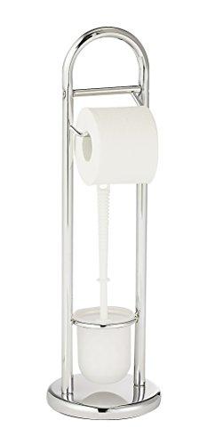 WENKO 15438100 Stand WC-Garnitur Siena chrom - Toilettenpapierhalter und WC-Bürstenhalter, Stahl, 19 x 63 x 19 cm, Glänzend