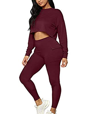 90% Rayon and 10% Spandex, This basic 2 piece sport outfits set is high stretchy, super soft, solid color, thick, durable and breathable fabric, not see through This sweatsuit feature 2 big pockets on both sides, crewneck, include a long sleeve loose...