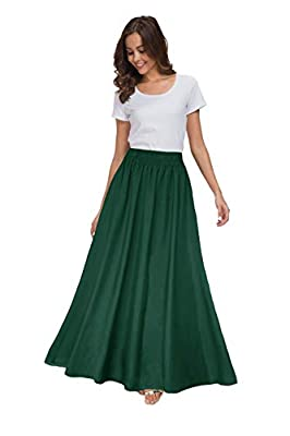 Fabric: Chiffon; Elastic waist design and lined. Design: Solid color long maxi chiffon skirt with comes in variety of colors.Can match your different styles of shirts, T-shirts, high heels High quality chiffon, flowy and pretty,breathable when wearin...