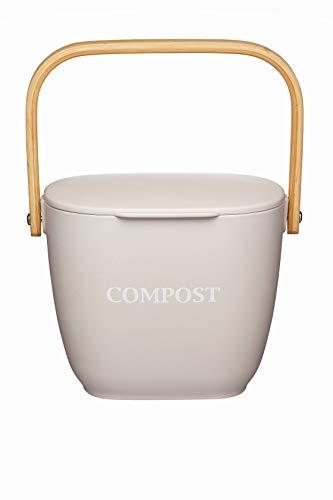 Kitchen Craft Natural Elements Küchen-Komposter, Bambusfaser, Knetgrau, 3 l
