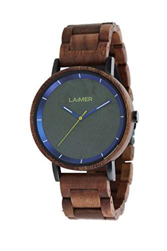 LAiMER Holzuhr - Herren Quarz Armbanduhr LAURENZ aus Nussholz - Analog, Zifferblatt aus Granit, Leuchtzeiger, Ø 42mm - Zero Waste Verpackung aus Naturholz