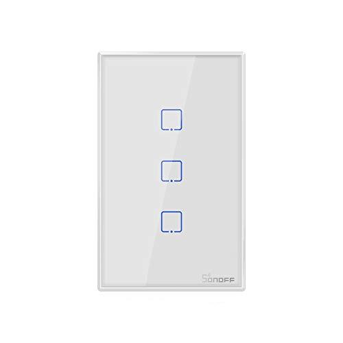 ウォールスイッチスマートスイッチ Sonoff T2 Touch 120mm 3 Gang 3 Way 3ウェイ強化ガラスパネルウォール...