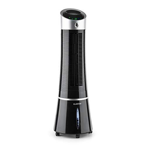 Klarstein Skyscraper Ice - 4-in-1 mobiles Klimagerät: Luftkühler, Ventilator, Luftbefeuchter & Luftreiniger, 210m³/h, Wassertank: 6L, 30 Watt, Oszillation, Ionisator, Timer, Fernbedienung, pechschwarz