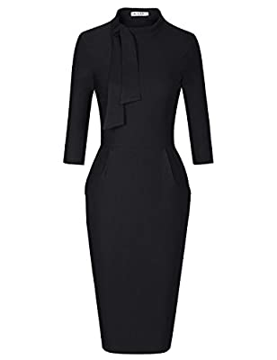 Classic Vintage Style,Formal Tie Crew Neck,with Hidden Side Seam Pockets Comfy little stretchy fabric,with Side Zipper This dress is absolutely amazing and it fits your curves perfectly Great for Formal,Wedding Bridesmaid,Evening Party and Work Event...