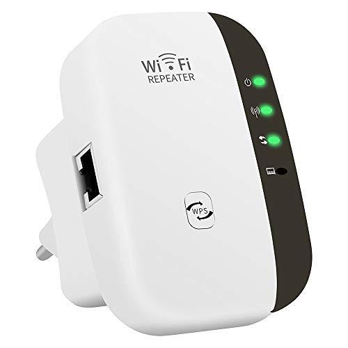 Amplificateur WiFi, 300 Mbps Répéteur Amplificateur de Signal du Réseau, WiFi Extender avec 1 Port Ethernet, Protection WPS, 2.4 GHz Antennes Intégrées, Compatible avec Toutes Les Box Internet