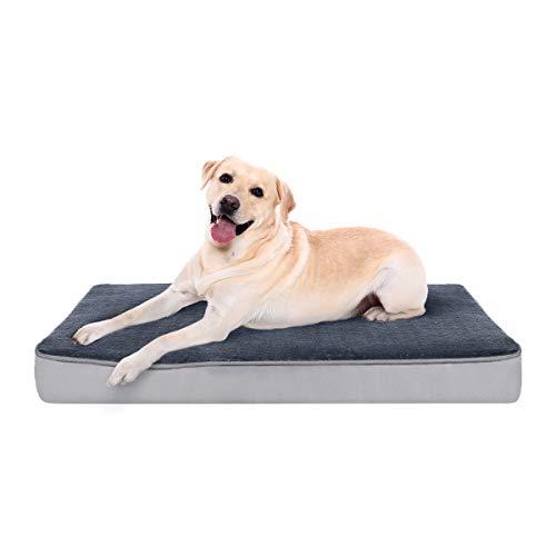 FOCUSPETINLIFE Cuccia Ortopedica per Cani,Cuscino per Cane Tappetino in Memory Foam per Animali Domestici con Guaina Rimovibile e Lavabile per Cani,Include Giocattolo da Masticare,Taglia L:89x56x8cm