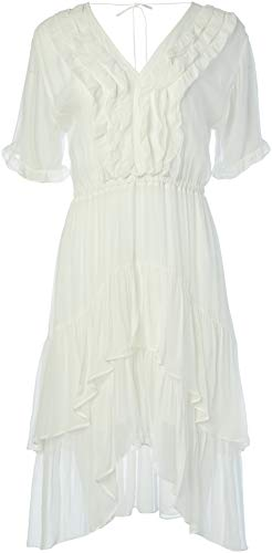 31k43uuA+yL High low dress white v-neckline