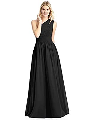Features: Chiffon bridesmaid dress, one shoulder bridesmaid dress, bulit in bra, lace-up in back, floor-length with pockets formal evening dress. Material: The soft and lightweight tulle will not make your body feel uncomfortable, it is an excellent ...