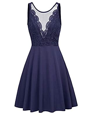 Feature: Round mesh neck,sleeveless,back zipper,cute style,high waist,floral lace patchwork makes you fashionable,elegant and curvy Stretchy comfortable, makes you comfortable in formal occasions; With mesh sheer v neck makes you looks sexy Occasions...