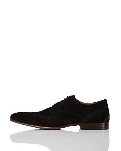 find. Smart Leather Zapatos de Cordones Brogue, Negro (Black), 43 EU