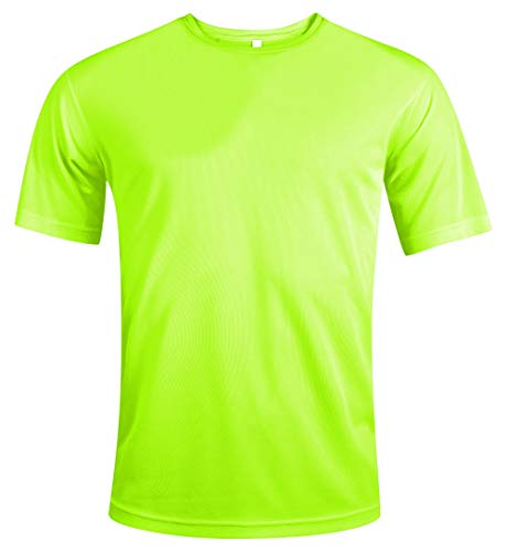 MKR Quick Drying Breathable Short Sleeve Sports T-Shirt (Fluo Yellow, XL)