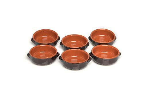 Ciotola con 2 Manici, Ceramica, Marrone, 6 Ciotole, 14 cm