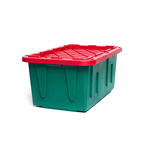 HOMZ Holiday Plastic Storage Container, 27 Gallon - Set of 2, Green and Red, 2 Sets