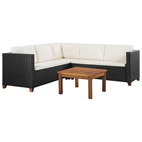 vidaXL Gartensofa 4-TLG. Poly Rattan Gartenmöbel Lounge Sitzgruppe Gartenset