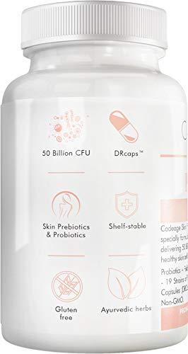 Codeage Skin Probiotics + Prebiotics - Skin Care Routine Supplement - 50 Billion CFU - Ayurvedic Botanical Herbs - Face Probiotics - Shelf Stable Cleanser, Non-GMO, Vegan - 60 Capsules 4
