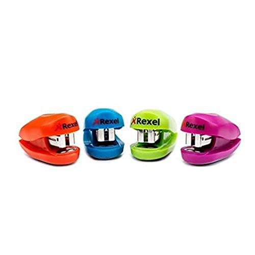 Rexel Buddy, Mini cucitrice, Capacit 10 fogli, Si inserisce in una borsa, Include punti metallici, Colori assortiti, 2100150, 1 unit