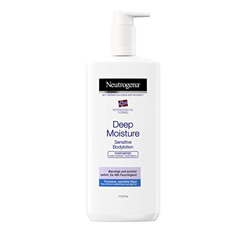 Neutrogena Norwegische Formel Deep Moisture Bodylotion Sensitive, sofort einziehende Körperlotion für 24h intensive Feuchtigkeit (3 x 400 ml)