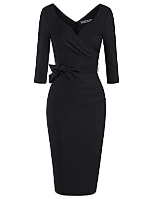 Elegant Pinup 60s Style, Sweetheart Neckline, Wrap Ruched Belt Waist Below the Knee Dress Ultra form-fitting,extremely comfortable,with a hidden zipper at the back This dress is absolutely amazing and it fits your curves perfectly Great for Formal,We...