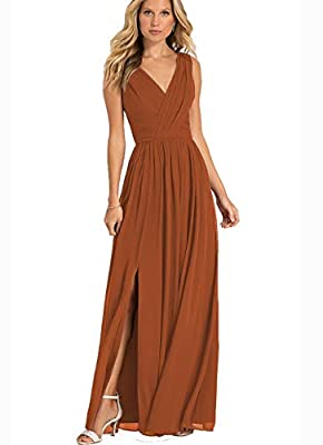 The v-neck ruched bodice, a-line flowy chiffon skirt with side slit make for long, lean and elegant look.it is stylish and figure flattering. Size:please carefully check our size chart image(not amazon size chart link),or email us your detailed measu...