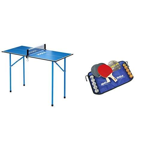 JOOLA TT-Tisch Mini, blau, 19100 & JOOLA Tischtennis-Set Family , 4 Tischtennisschläger + 10 Tischtennisbälle + Tasche