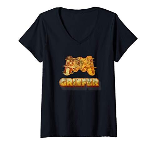 Womens Funny Gamer Griefer (Vintage) - Gaming V-Neck T-Shirt
