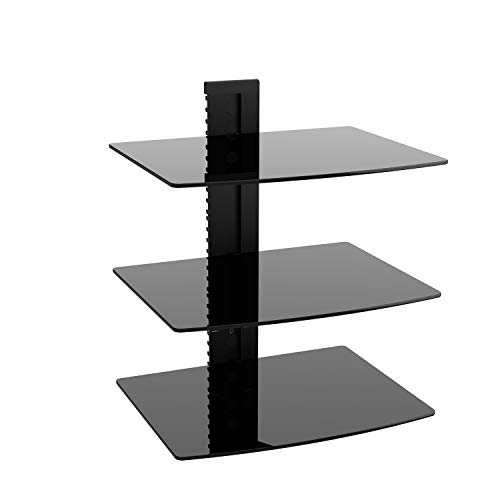 WALI Floating Wall Mounted Shelf with Strengthened Tempered Glasses for DVD Players, Cable Boxes, Games Consoles,...