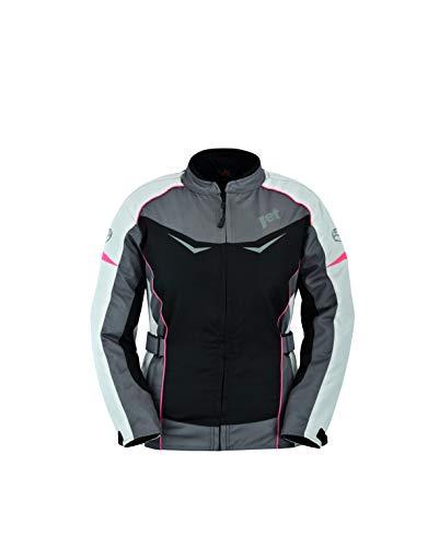 Jet Motorradjacke Damen Mit Protektoren Textil Winddicht Sommer Winter ROCHELLE (2XL (EU 44), Grau/Pink)