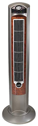 Lasko Portable Electric 42' Oscillating Tower Fan with Nighttime Setting, Timer and Remote Control for Indoor, Bedroom and Home Office Use, Silverwood T42954