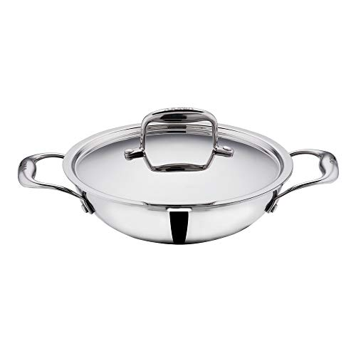 Vinod Platinum Triply Stainless Steel Kadai with Lid- 22 cm, 1.8 Ltr (Induction Friendly)