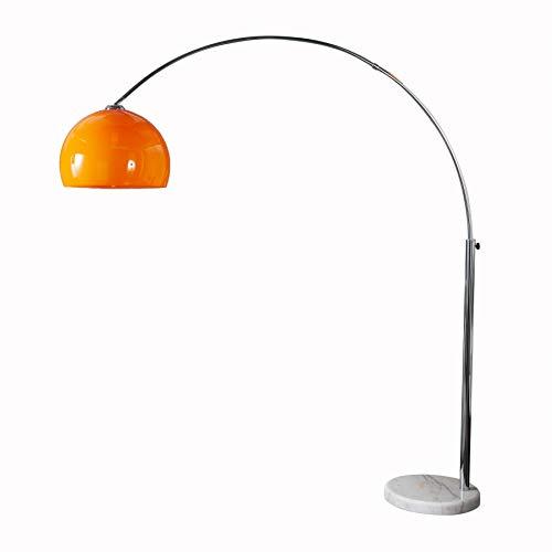 Design Bogenlampe LOUNGE DEAL orange mit weißem Marmorfuß 175-205cm ausziehbar Bogenleuchte