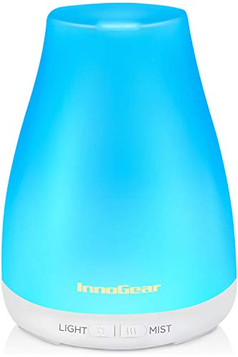 InnoGear Essential Oil Diffuser, Upgraded Diffusers for Essential Oils Aromatherapy Diffuser Cool Mist Humidifier with 7 Colors LED Lights 2 Mist Mode Waterless Auto Shut-off for Home Office Baby