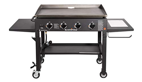 """Blackstone 36"""" Cooking Station 4 Burner Propane Fuelled Restaurant Grade Professional 36 Inch Outdoor Flat Top Gas Griddle with Built in Cutting Board, Garbage Holder and Side Shelf (1825), Black"""