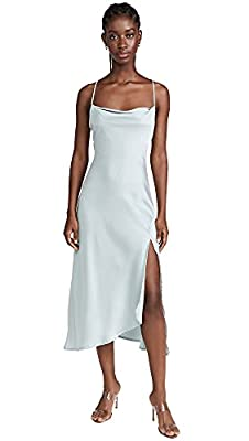 Shell: 100% polyester Fabric: Lightweight, non-stretch sateen Dry clean Tie closure at back, Adjustable crisscross straps, Cowl neckline, Side slit Length: 47.25in / 120cm, from shoulder