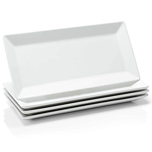 Sweese 705.101 12 Inch Porcelain Rectangular Plates, White Serving Trays for Parties - Stackable, Set of 4
