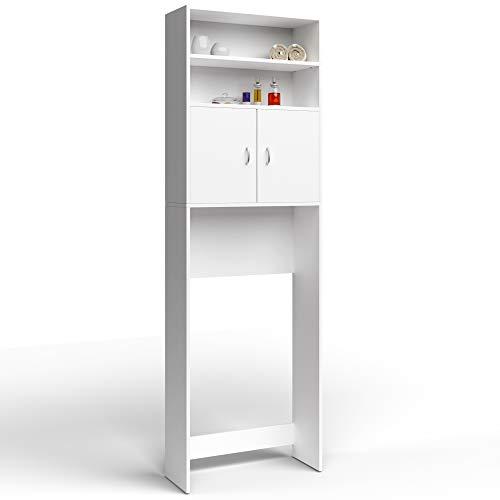 Deuba Mobile per Lavatrice Bianco 2 Ante 195 x 63 x 20 cm Armadio per Lavatrice Mobile asciugatrice