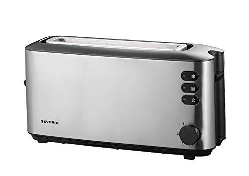 SEVERIN AT 2515 Automatik-Toaster (1.000 W, 1 Langschlitzkammer, Für bis zu 2 Brotscheiben) edelstahl/schwarz
