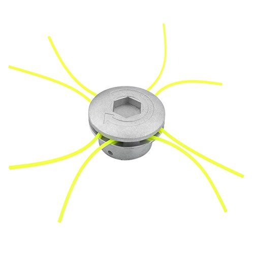 Testina di taglio per decespugliatore, testina di taglio universale, in alluminio, accessorio per decespugliatore con 4 linee