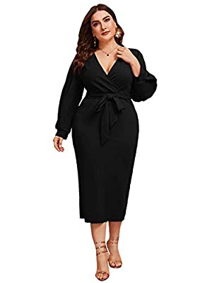 Fabric has some stretch Deep v neck, lantern sleeve, self belted, split hem back, zipper back, midi length Elegant and sexy style, suitable for Work, Formal, Cocktail and Night Dating wear Model Measurements: Height: 67.3 inch, Bust: 41.7 inch, Waist...