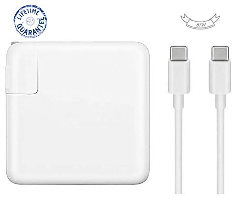 Replacement Mac Book Pro Charger, 87W USB-C to USB-C Ac Power Adapter Charger Compatible with MacBook Pro 15 Inch 13 Inch (White)