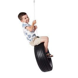 ROCK1ON Rubber Tire Swing for Kids & Adults Indoor Outdoor Garden Backyard Patio Swing Set for Tree Playground Playroom 330 lbs Capacity with PE Rope