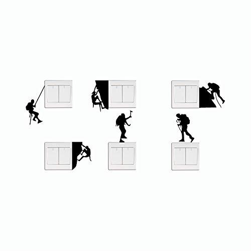 posterguo Lichtschaltersticker 4pcs Kreative Kletterer Typ Schalter Aufkleber Cartoon Sport Vinyl für Schlafzimmer Wohnkultur Wandkunst Aufkleber Wandbild Schwarz