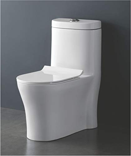 B Backline One Piece Ceramic Western Toilet/Commode/European Commode/Water Closet 4D Syphonic Toronto Flusing S Trap 8' Outlet Is From Floor - (Standard White) For Bathroom (Style 4)